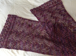"Scarf/shawl: Elaborated Print O' the Wave pattern by Eunny Jang, from her Craftsy class ""Lace Knitting: Basics and Beyond"". Yarn is Interlacements Irish Jig [African Violets]."